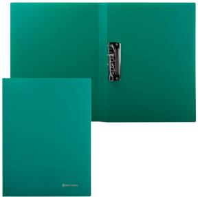 Папка с боковым металлическим прижимом BRAUBERG стандарт, зеленая, до 100 листов, 0,6 мм (221627)