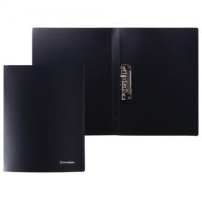 Папка с боковым металлическим прижимом BRAUBERG стандарт, черная, до 100 листов, 0,6 мм (221630)