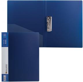 Папка с боковым металлическим прижимом и внутренним карманом BRAUBERG «Contract», синяя, до 100 л., 0,7 мм