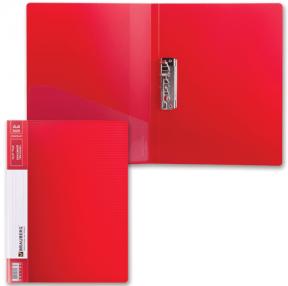 Папка с боковым металлическим прижимом и внутренним карманом BRAUBERG «Contract», красная, до 100 л., 0,7 мм