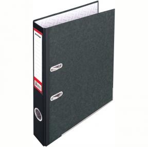 "Папка-регистратор Berlingo ""Standard"", 50мм, мрамор, с карманом на корешке, нижний метал. кант, черная (119938)"