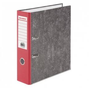 Папка-регистратор BRAUBERG, усиленный корешок, мраморное покрытие, 80 мм, с уголком, красная (228029)
