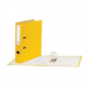 Папка-регистратор, покрытие пластик, 50 мм, ПРОЧНАЯ, с уголком, BRAUBERG, желтая (226593)
