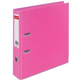 Папка-регистратор BRAUBERG EXTRA, 75 мм, розовая, двустороннее покрытие пластик, металлический уголок (228575)