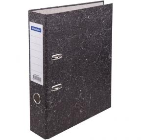 Папка-регистратор OfficeSpace 70мм, мрамор, черная, бюджет (251891)