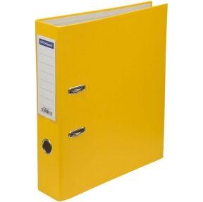 Папка-регистратор OfficeSpace, 70мм, бумвинил, с карманом на корешке, желтая (270117)