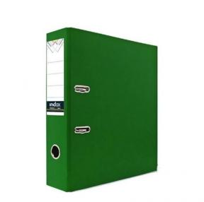 Папка-регистратор INDEX с карманом, 80 мм, с мет.уголком, PVC, зеленая 18182 (С25227)