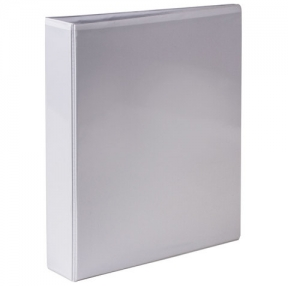 Папка на 2 кольца с передним прозрачным карманом BRAUBERG, картон/ПВХ, 50 мм, белая, до 400 листов (223528)
