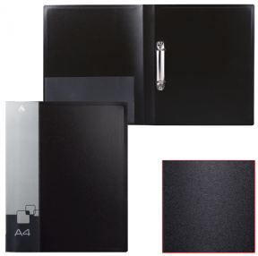 Папка на 2 кольцах БЮРОКРАТ, 27 мм, черная, внутренний карман, до 150 листов, 0,7 мм