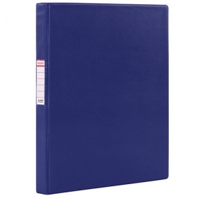 Папка на 2 кольцах BRAUBERG, картон/ПВХ, 35 мм, синяя, до 180 листов (228376)