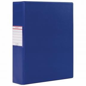 Папка на 2 кольцах BRAUBERG, картон/ПВХ, 75 мм, синяя, до 500 листов (228388)