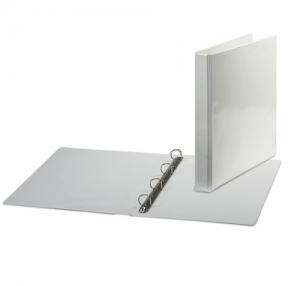 Папка на 4 кольцах с передним прозрачным карманом BRAUBERG, 35 мм, картон/ПВХ, белая, до 180 листов (221486)