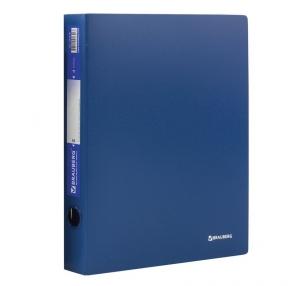 Папка на 4 кольцах BRAUBERG, Стандарт, 40 мм, синяя, до 300 листов, 0,9 мм (221619)