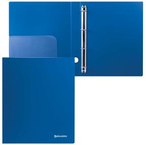 Папка на 4 кольцах BRAUBERG  «Стандарт», 40 мм, синяя, до 250 листов, 0,9 мм