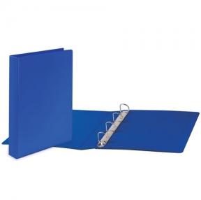 Папка на 4 кольца с передним прозрачным карманом BRAUBERG, картон/ПВХ, 50 мм, синяя, до 400 листов (223530)