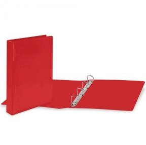 Папка на 4 кольца с передним прозрачным карманом BRAUBERG, картон/ПВХ, 65 мм, красная, до 400 листов (223531)