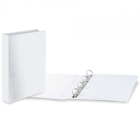 Папка на 4 кольца с передним прозрачным карманом BRAUBERG, картон/ПВХ, 75 мм, белая, до 500 листов (223535)