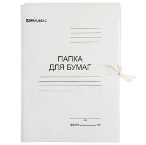 Папка для бумаг с завязками картонная мелованная BRAUBERG, 280 г/м2, до 200 листов (110924)