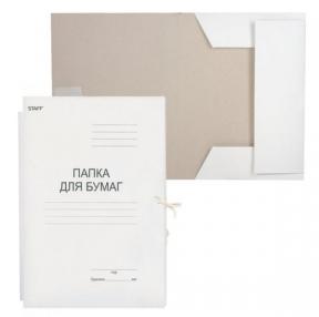Папка для бумаг с завязками картонная STAFF, гарантированная плотность 220 г/м2, до 200 л. (126525)