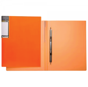 "Папка с мет.пруж.скоросш. ""Хатбер"" HD, пластик, Неоново-оранж., до 100 л.,0,9мм"
