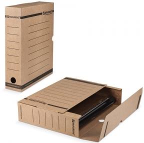 Накопитель документов, лоток-коробка BRAUBERG, 75 мм, бурый