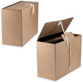 Короб архивный, 28×18×38 см, вертикальный, на завязках, бурый, до 1600 л