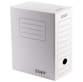 Короб архивный с клапаном, STAFF, микрогофрокартон, 150 мм, до 1400 листов, белый (128866)