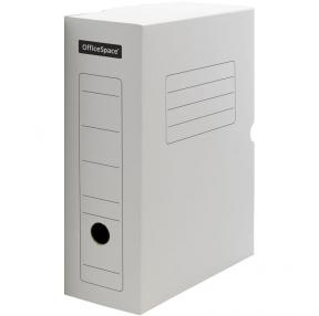 Короб архивный с клапаном OfficeSpace, микрогофрокартон, 100мм, белый, до 900л. (178838)
