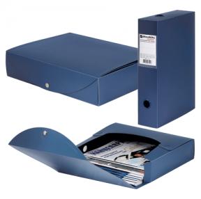 Короб архивный BRAUBERG «Energy», пластик, 7 см (на 600 л.), разборный, синий