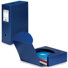 Короб архивный BRAUBERG «Energy», пластик, 10 см (на 900 л.), разборный, синий, 0,9 мм