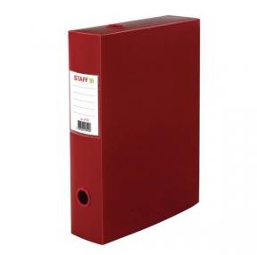 Короб архивный (330×245 мм), 70 мм, пластик, разборный, до 750 листов, красный, 0,7 мм, STAFF, (237276)