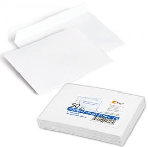 Конверт С6, комплект 50 шт., отрывная полоса STRIP, белый, 114×162 мм