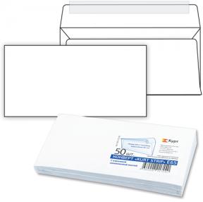 Конверт Е65, комплект 50 шт., отрывная полоса STRIP, белый, 110×220 мм