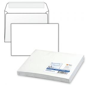 Конверт С5, комплект 50 шт., отрывная полоса STRIP, белый, 162×229 мм, 80 г/м2