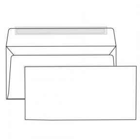 Конверты Е65, отрывная полоса STRIP, белые, 110х220 мм