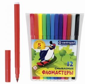 Фломастеры CENTROPEN, 12 цветов,«Пингвины», смываемые, вентилируемый колпачок