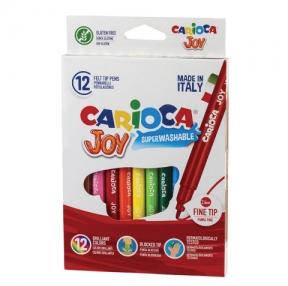 Фломастеры CARIOCA «Joy2», 12 цветов, суперсмываемые, вентилируемый колпачок, картонная коробка