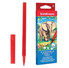 Фломастеры ERICH KRAUSE, 6 цветов, смываемые, вентилируемый колпачок, картонная упаковка