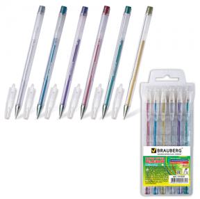 Ручки гелевые BRAUBERG «Jet», набор 6 шт., чернила металлик, 0,7 мм, европодвес