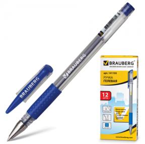 Ручка гелевая BRAUBERG «Number One», корпус прозрачный, 0,5 мм, резиновый держатель, синяя