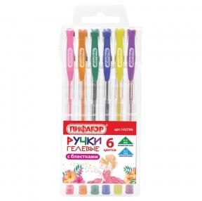 Ручки гелевые ПИФАГОР, набор 6 шт., ассорти с блестками , узел 0,7 мм, линия письма 0,5 мм (142796)