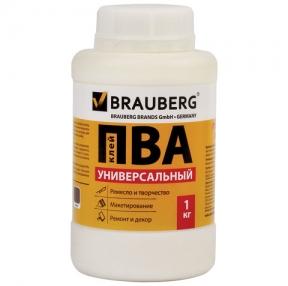 Клей ПВА BRAUBERG, 1 кг, универсальный (бумага, картон, дерево) (600983)