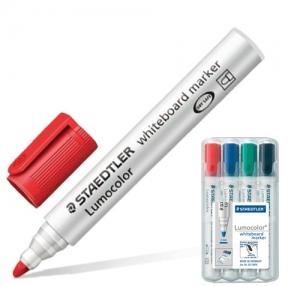 Маркеры для доски STAEDTLER, набор 4 шт., «Lumocolor», круглый наконечник, 2 мм (черный, синий, красный, зел.)