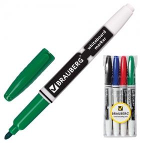 Маркеры для доски BRAUBERG , набор 4 шт., эргономичный корпус, круглый наконечник 4 мм, (черный, синий, красный,зеленый)