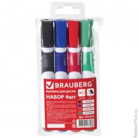 Маркеры для доски BRAUBERG SOFT, набор 4шт, резиновая вставка, 5 мм, (син,черн,красн,зел) (151252)