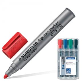 Маркеры для флипчарта STAEDTLER, набор 4 шт., 2 мм, непропитывающие (черный, синий, красный, зеленый)