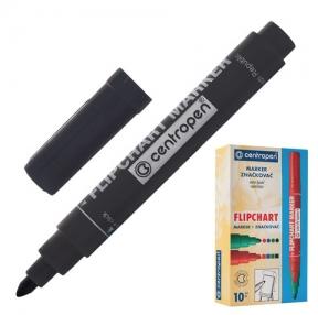 Маркер для флипчарта CENTROPEN, непропитывающий, черный, круглый наконечник, 2,5 мм (151104)