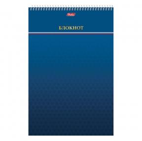 Блокнот БОЛЬШОЙ ФОРМАТ (195×297 мм) А4, 80 л., спираль, картон, подложка, клетка, HATBER, Синий (111080)