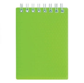 Блокнот МАЛЫЙ ФОРМАТ (110×145 мм) А6, 80 л., гребень, обложка пластик, клетка, HATBER DIAMOND, Зеленый (111095)