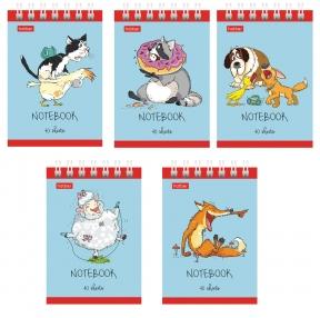 Блокнот формат А7, 75×105 мм, 40 л., гребень, картон, без линовки, HATBER, Животные (111102)
